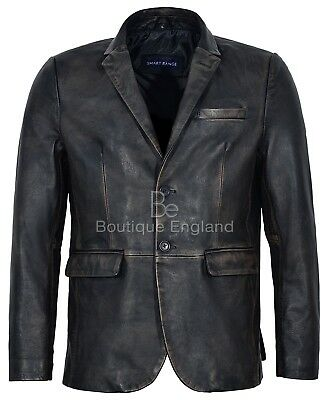 Mens Leather BLAZER Black Rub Off Classic ITALIAN Tailored REAL LEATHER 3450