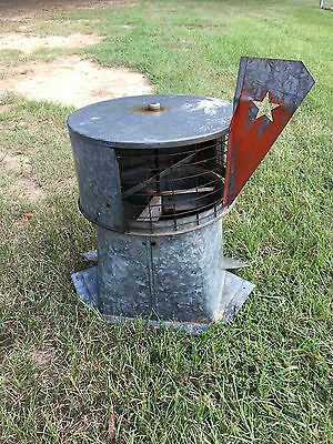 vintage galvanized metal rusty barn salvage roof vent, steampunk,  small size