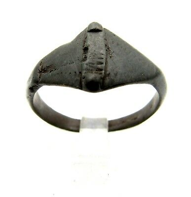 Viking Warrior Bronze Ring Decorated -Very Rare Wearable Ancient Artifact - Q588