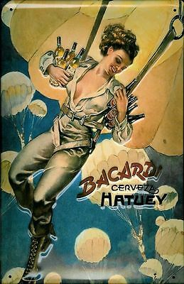 Embossed Vintage Retro Style Metal Sign Bacardi Cerveza Parachute Bar Pub Decor