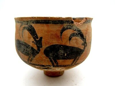 Indus Valley Terracotta Bowl W/ Deer Motif - Rare Ancient Artifact Lovely - L358
