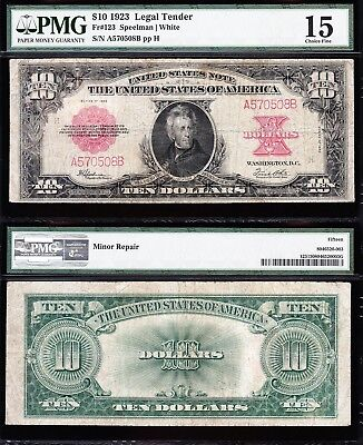 "Nice *RARE* Choice Fine+ 1923 $10 ""POKERCHIP"" US Note! PMG 15! FREE SHIPPING!"