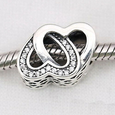 Silver Double Love Heart Crystal Interlocking Charm Bead For Bracelet Necklace