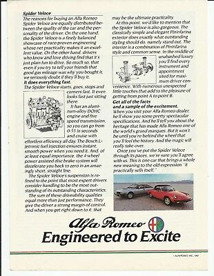 1982 Alfa Romeo Spider Veloce Red Convertible Photo Vintage Print Ad