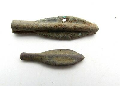 Lot Of 2 Bronze Proto Money - Dolphins - Ancient Currency - Olbia - Q638