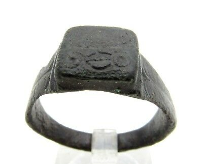 Saxon Era Bronze Ring W/ Evil's Eyes - Lovely Artifact Wearable Historic -Q642