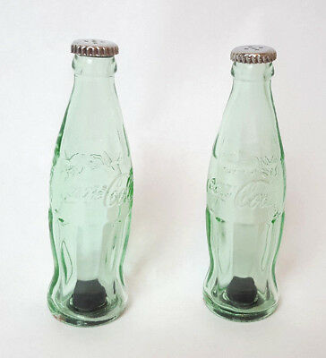 Coca-Cola Salt and Pepper Glass Shakers Contour Bottles