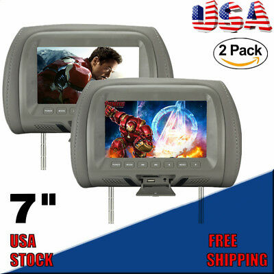 2×7″ TFT LCD Screen Car Pillow Headrest Monitor MP5/USB/SD Player FM New Mayun