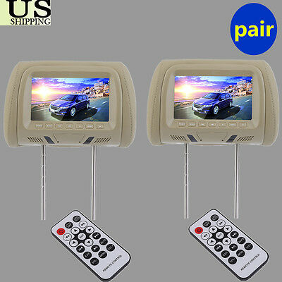 """US Headrest 2 X 7"""" Car Monitor Pillow MP5 Player GAME USB/SD Beige New"""