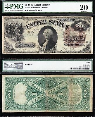 "Nice *RARE* Fr. 32 Bold VF $1 1880 US Note! ""LG. BROWN SEAL/Blue Nos""! PMG 20!"
