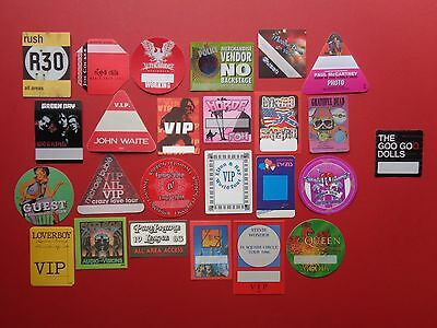 25 Cloth Backstage passes,GOO GOO DOLLS,RUSH,QUEEN,McCARTNEY,PETTY,YES,DYLAN,