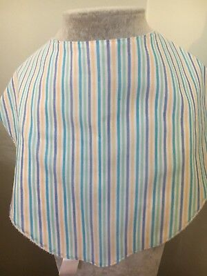 Adult Dribble Bib Special Needs Fresh Blue Stripe Cotton  Bandana Bib