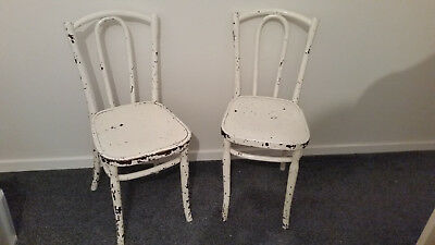 Wooden Chairs Embossed Engraved Stamped Art Deco Vintage Antique Bent Cane Oval