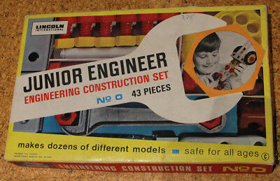 Lincoln International JUNIOR ENGINEER construction set No. 0 Vintage für Sammler