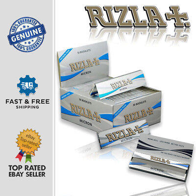 RIZLA MICRON KING SIZE Silver Slim Thin Smoking Rolling Papers Sheets Booklets