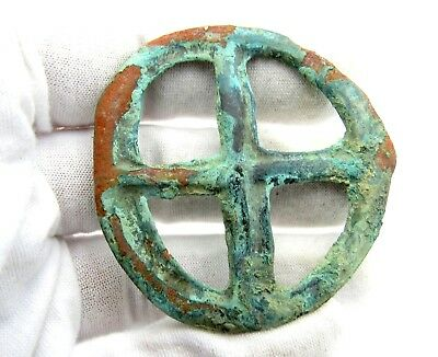 Roman Bronze Wheel Of Fortune Amulet - Superb Ancient Wearable Artifact - Q671