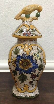 Vintage Juan Royal 'Zuid Holland' Gouda Pottery Vase and Cover w/Bird Finial