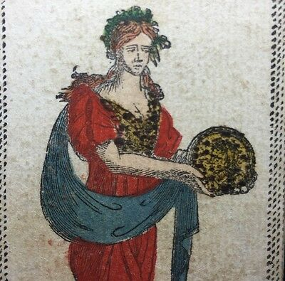 Authentic c1820 Antique Tarot Playing Cards Artisan Colour Italy Coins Single