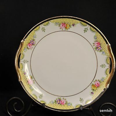 Noritake M-in-Wreath Cake Plate 2 Handles HandPainted Flowers Gold Made in Japan