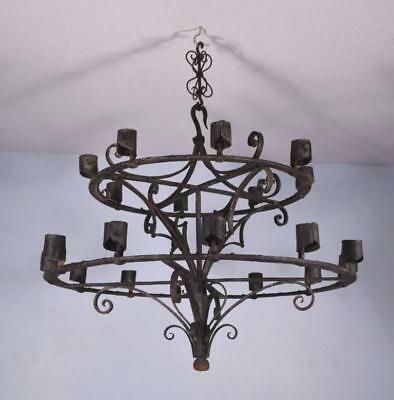 *Antique French Wrought Iron Gothic Chandelier/Hanging Lamp