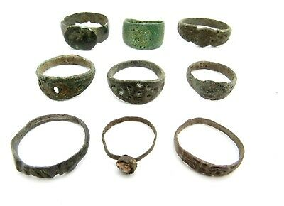 Lot Of 9 Roman / Medieval Bronze Rings For Cleaning - Wearable Superb - Q694