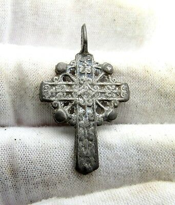 Late Medieval Silvered Radiate Bronze Cross Pendant - Artifact Wearable - Q703