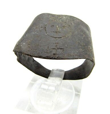 Roman Bronze Swastika Ring - Ancient Wearable Artifact Very Rare Stunning -Q75