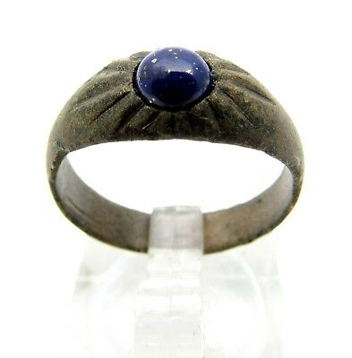 Late/post Medieval Ring W/ Red Stone / Gem - Rare Artifact Wearable - Q709