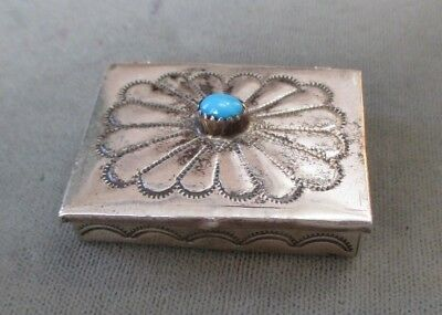 Vintage Sterling Silver Turquoise Native American Navajo Indian Pill Trinket Box