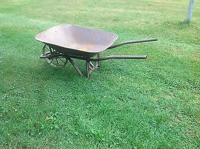 Antique All Metal Contractors Wheelbarrow Farm Garden Tool Decor