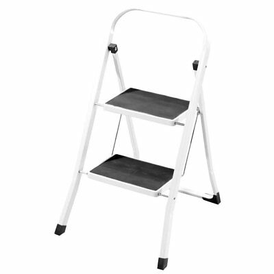 Foldable 2 Step Compact Portable Ladder Safety Non Slip Metal Heavy Duty Steel
