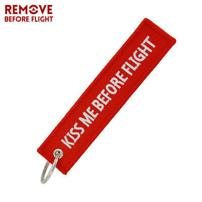 Kiss Me Before Flight Key Chain Label Embroidery Key Ring Special Aviation Gifts