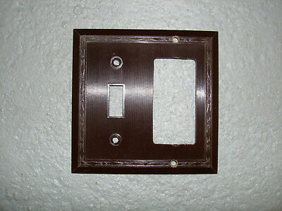 Vintage Uniline Brown Decora GFCI Switch Outlet Cover Plate 2 Gang Leviton