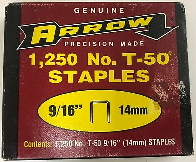 "Arrow T-50 9/16"" (14mm) Staples 1,250 Count #509 Lot of 4"