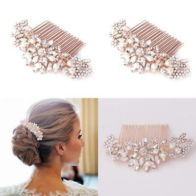 Fairy Moda Vintage Pearl Crystal Bridal Hair Accessories Rose Gold Hair Comb For