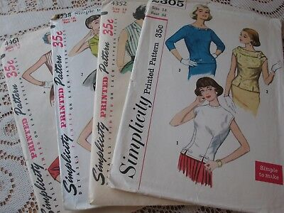 LOT of 4 VINTAGE SEWING PATTERNS 1950's-1960's Misses' BLOUSE SETS Sizes 32/34
