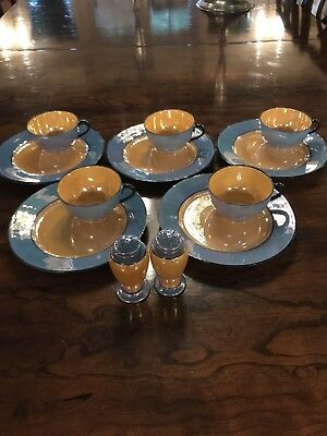Bavaria Blue and Gold Lusterware set of 5 teacups and saucers salt and pepper