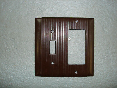 Vintage Uniline Brown Decora GFCI Switch Outlet Cover Plate 2 Gang Ribbed Bryant