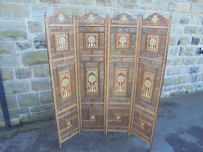 Antique Anglo Indian Inlaid Folding Screen