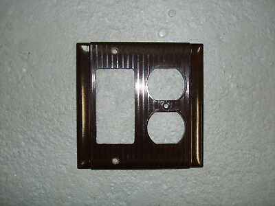 Vintage Uniline Brown Decora GFCI Switch Outlet Cover Plate 2 Gang P&S