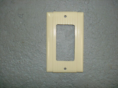 Vintage Uniline Ivory Decora GFCI Switch Outlet Cover Plate P&S Ribbed