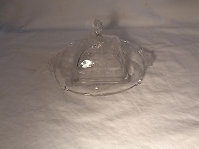 Elegant 2 Pc Heisey 507 Crystal Etched Orchid Waverly Covered Butter Dish  - Nr
