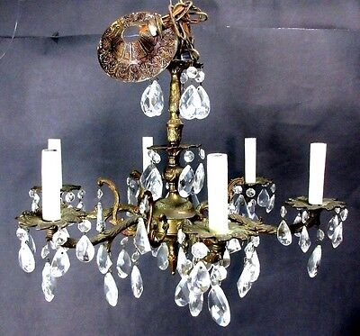 Vintage Antique Brass & Crystal Prism 6 Arm Lite Chandelier European French 21""