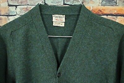 Vtg 60s ALAN PAINE Wool Cardigan Sweater 42 LARGE Heathered Blue Green Grandpa