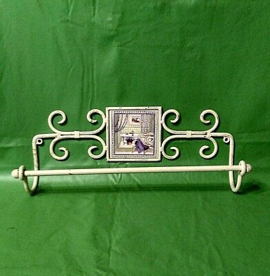 Vintage White Metal Country/Shabby Wall Bath Towel Rack Bar Wall Decor art scene