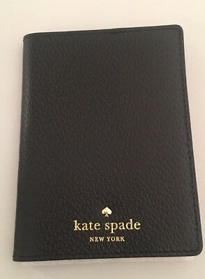 Kate Spade Grand Street Leather Passport Holder Case Black(001) NWT