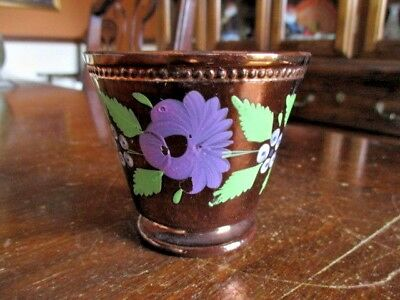Antique Staffordshire Copper Luster Beaded Cup - Hand Painted