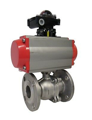 NEW 2 INCH 304 SS 2 PC. BALL VALVE 150# FLANGE PNEUMATIC ACTUATOR 120VAC 4-20mA