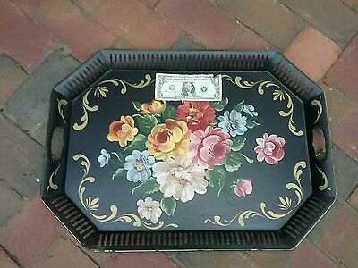 "X LARGE  BLACK Large Vtg Toleware Hand Painted Metal Floral Tray  24 X 17"" U.S.A"