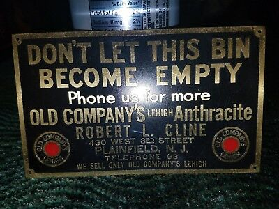 Vintage Sign Anthracite Coal Old Company's Leigh Plainfield  N. J.